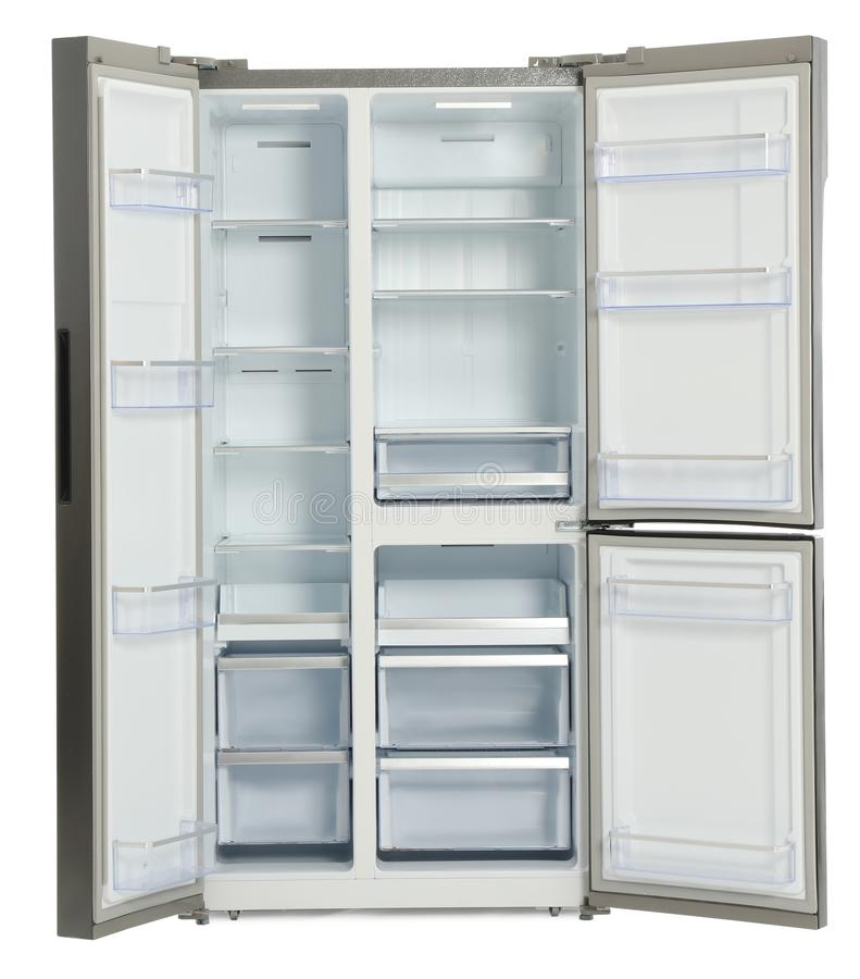 Empty stainless steel refrigerator isolated stock photos