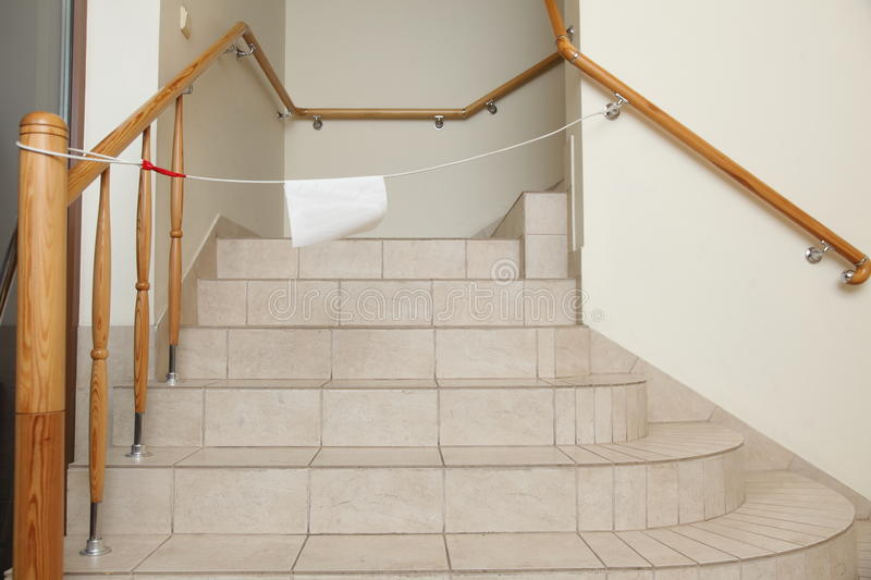 Download Empty Stairway With Tiled Floor. No Entry Sign. Stock Photo - Image: 35106820