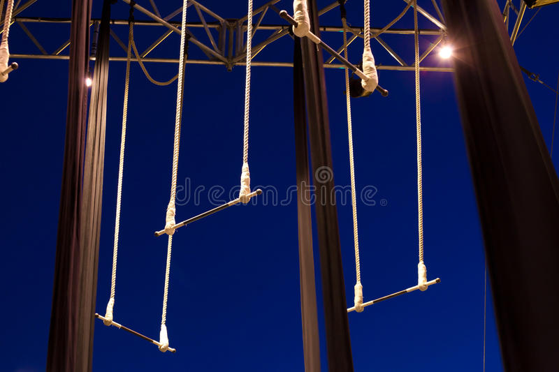 Empty standing trapezes royalty free stock photos