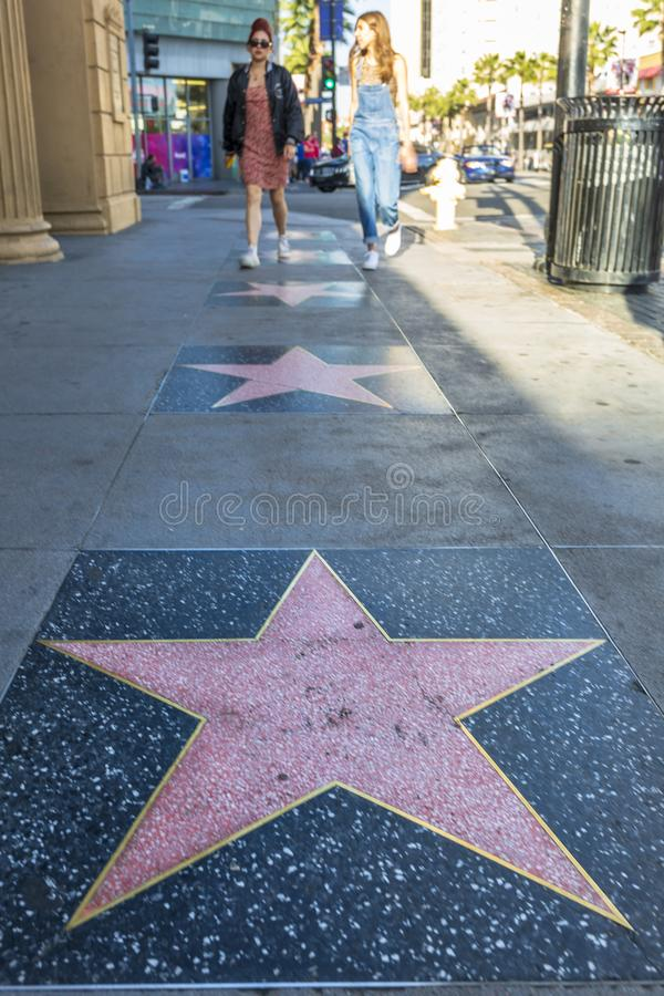 Empty star on Hollywood Boulevard, Hollywood, Los Angeles, California, United States of America, North America. Hollywood, USA - May 28 2018: Empty star on stock photography