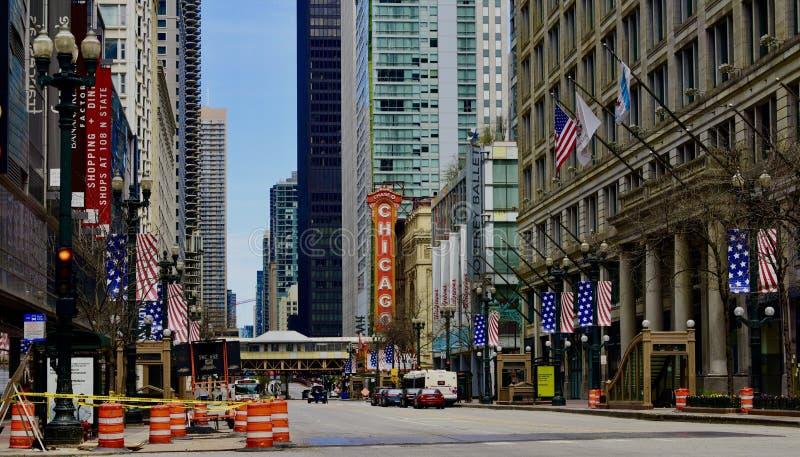 Empty State Street vanwege pandemie royalty-vrije stock afbeeldingen