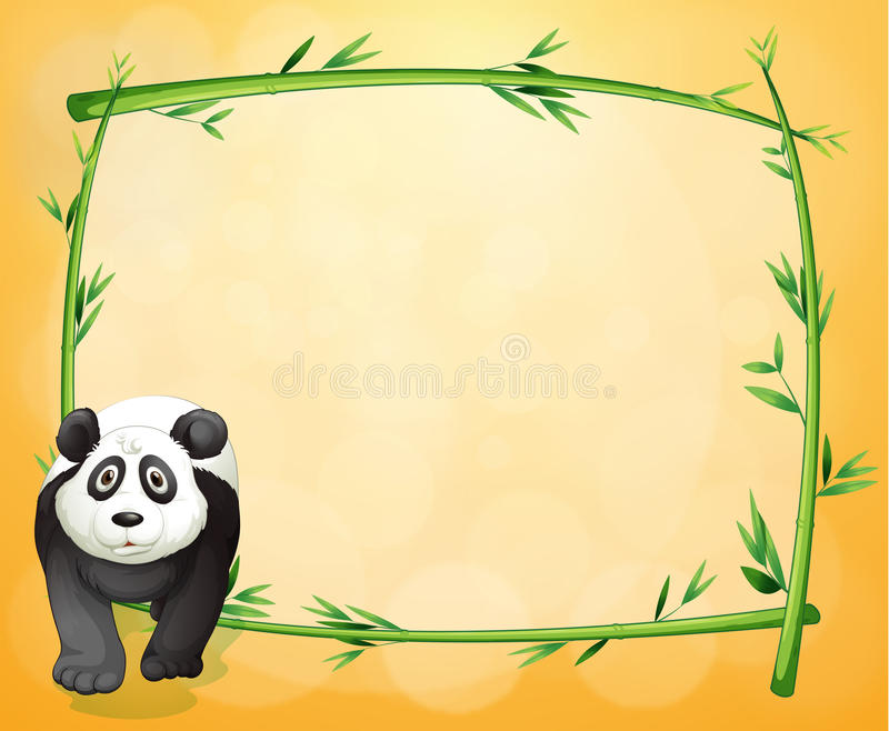 An empty stationery with a bamboo frame and a panda stock illustration