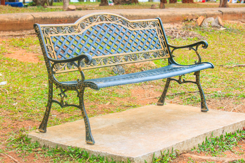 Empty steel chairs in the garden for relaxing royalty free stock photography