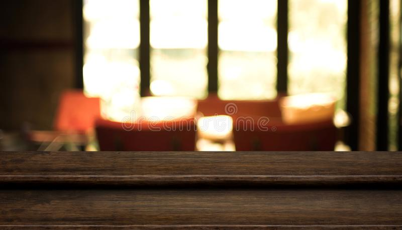 download empty step dark wood table top food stand with blur cafe restaur stock image