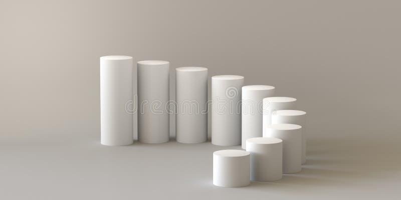 Empty steps cylinder on white background. 3D rendering. stock illustration