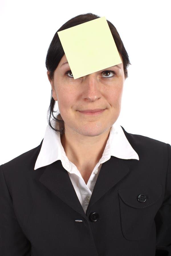 Empty Sticker on forehead stock image