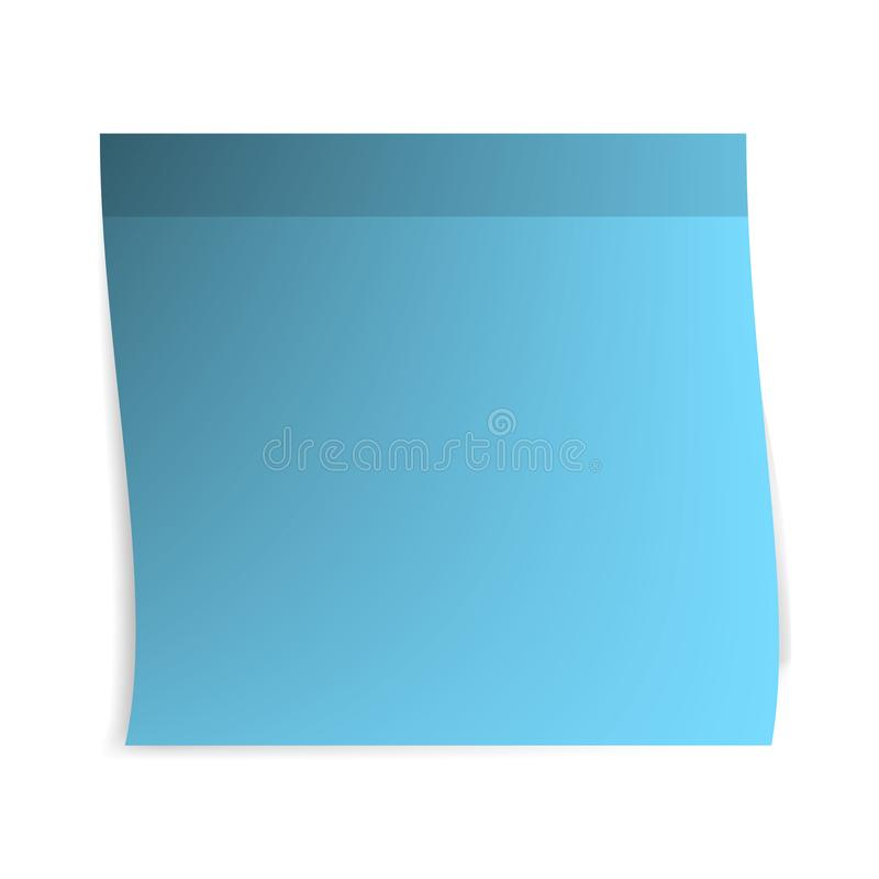 Empty sticky note. Blank paper sheet of blue color. Sticker for message. Isolated flat vector illustration vector illustration