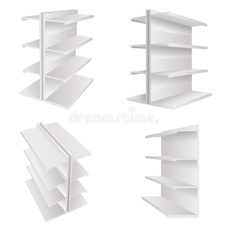 Empty store 3d white trade shelves for goods space realistic template mockup isolated on white set vector illustration. Empty store 3d white trade shelves for stock illustration