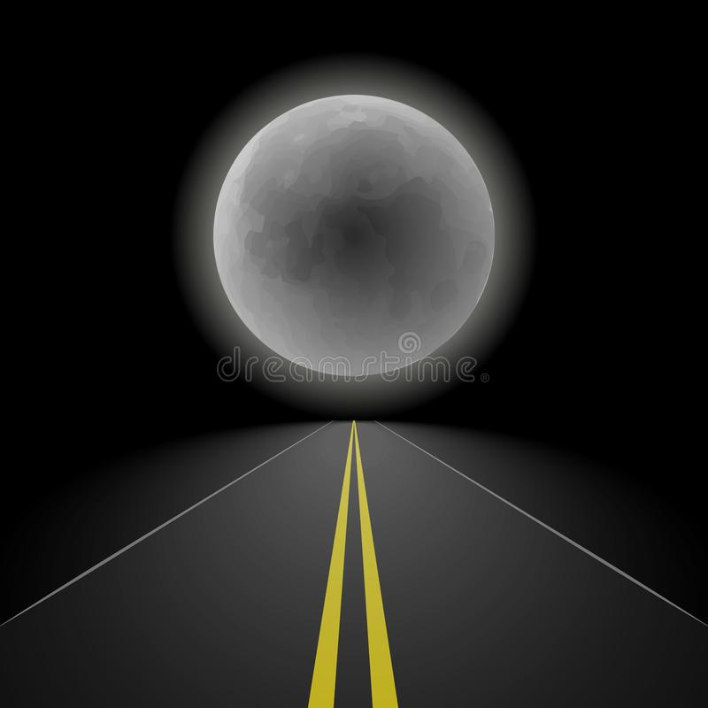 Empty straight night perspective asphalt road stretching into the distance to the horizon on the background of a large full moon, vector illustration
