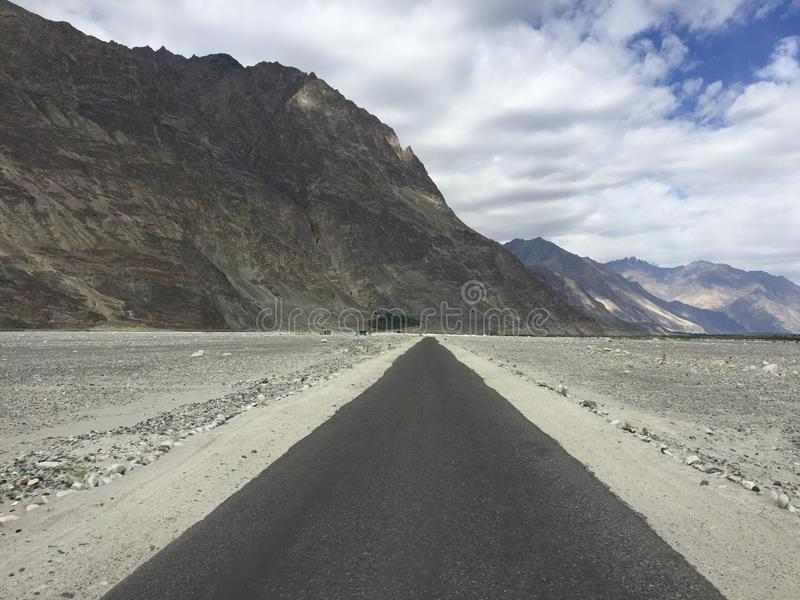 Empty straight road Nubra Valley royalty free stock images