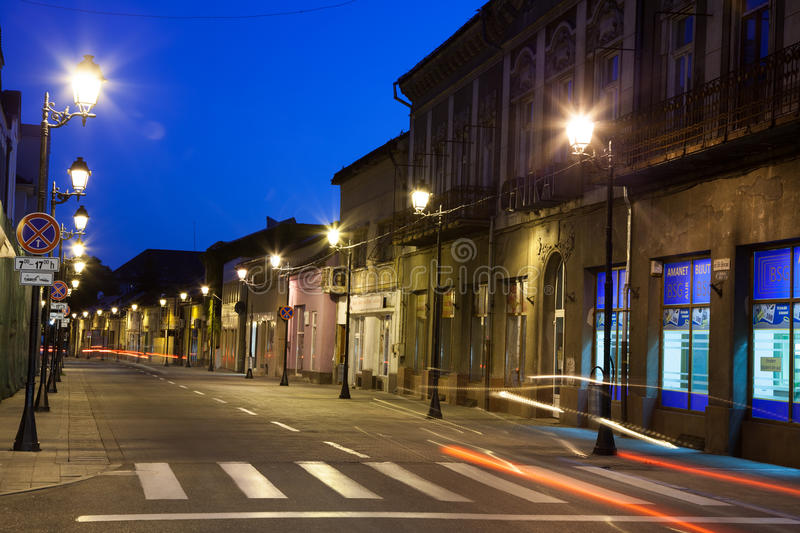 Download Empty street in Baia Mare editorial photography. Image of night - 33576907