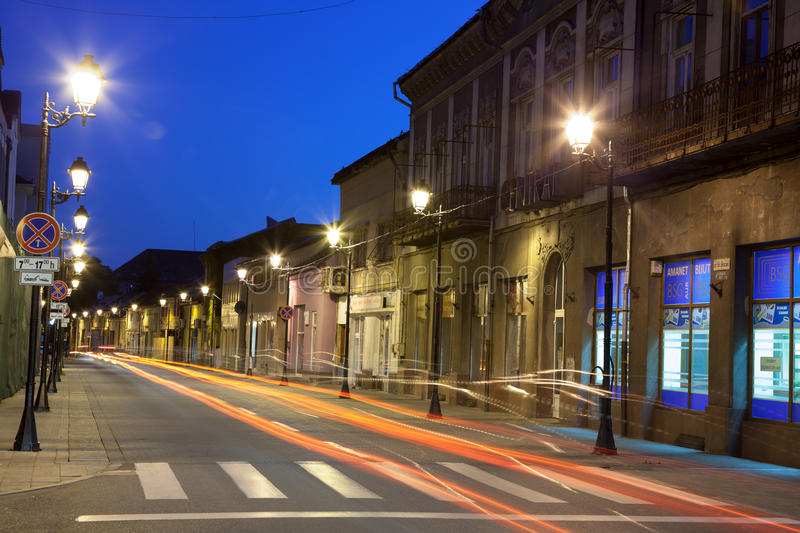 Download Empty street in Baia Mare editorial photography. Image of night - 33576947