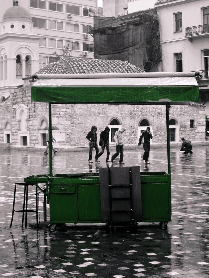 Empty street food vendor trailer royalty free stock photo