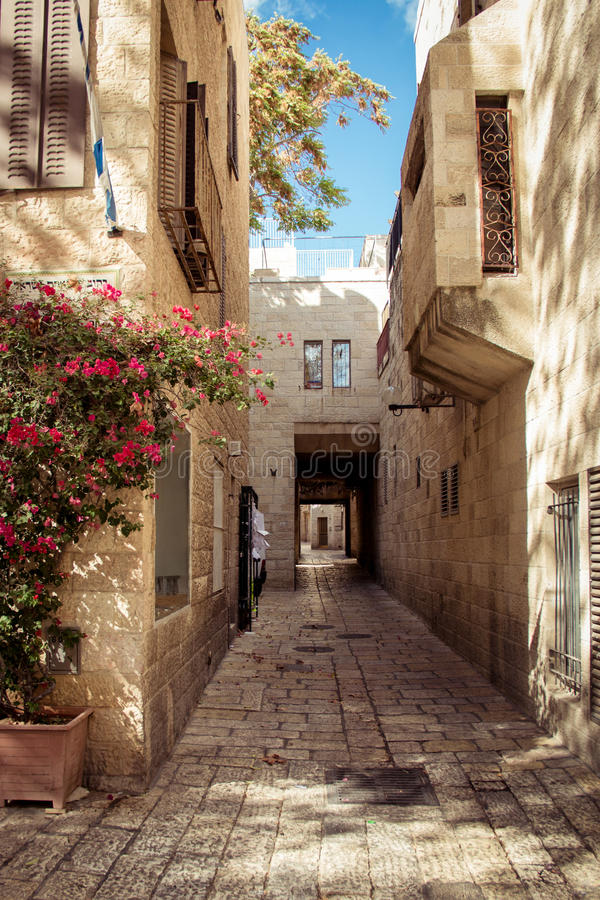 Empty street of Jerusalem, Olive Mountain, Israel royalty free stock images