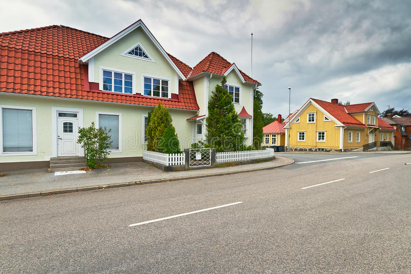 Download Empty Street Of Kyrkhult Town Stock Image - Image: 26930241