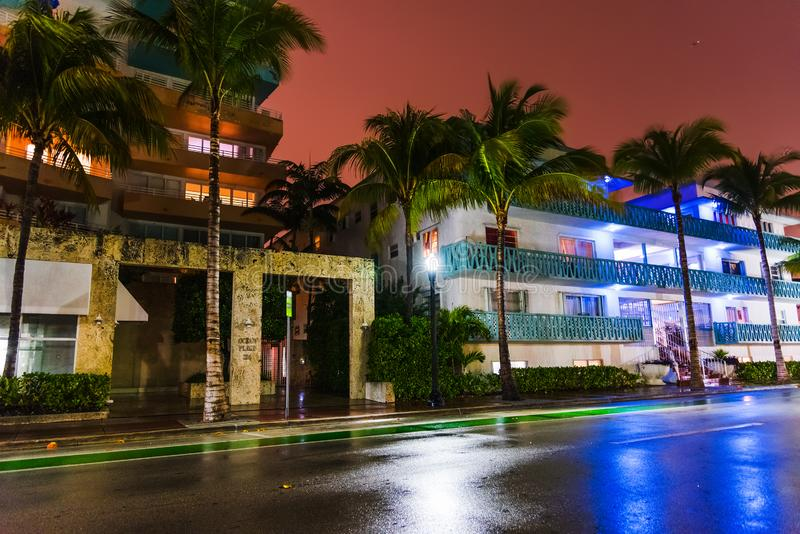Empty street in Miami Beach at night. Southern Florida, USA royalty free stock image