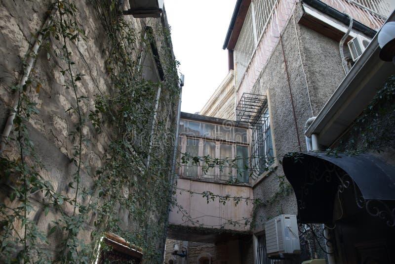 Empty street in old city of Baku, Azerbaijan. Old city Baku. Inner City buildings. Early spring time stock photo