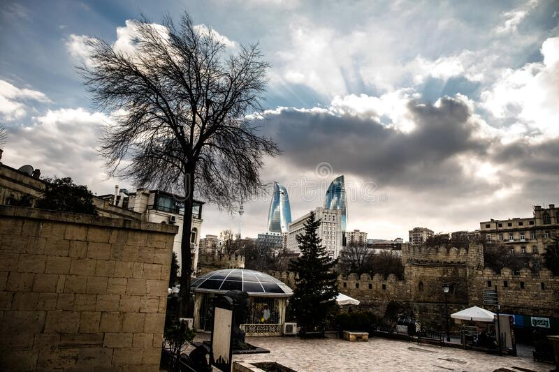 Empty street in old city of Baku, Azerbaijan. Old city Baku. Inner City buildings. Early spring time royalty free stock image