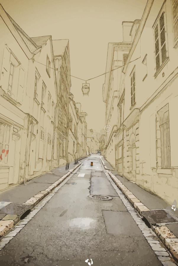 Empty Street in old town. Empty ascending Street in old european town.Travel background illustration. Painting with watercolor and pencil. Brushed artwork vector illustration