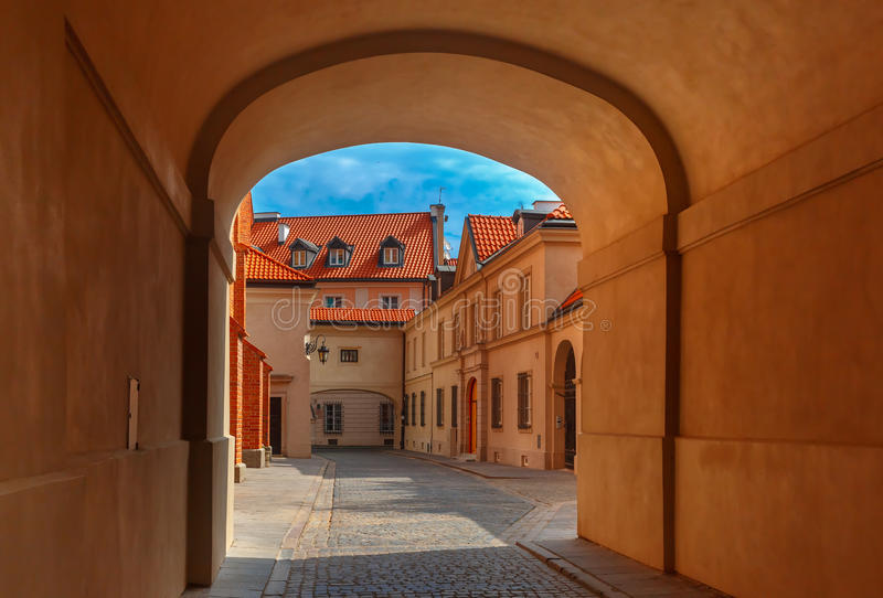 Empty street in the Old Town, Warsaw, Poland royalty free stock photo