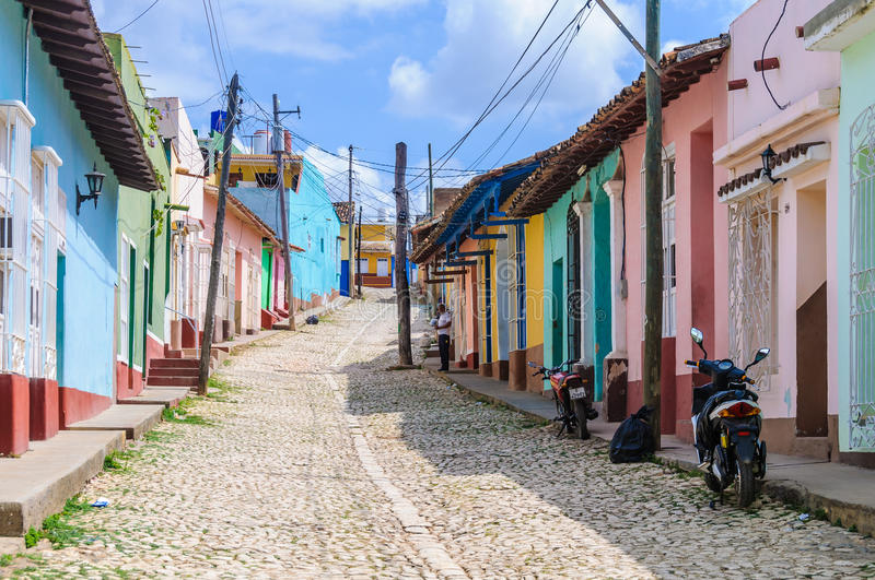 Empty street in Trinidad, Cuba royalty free stock photography