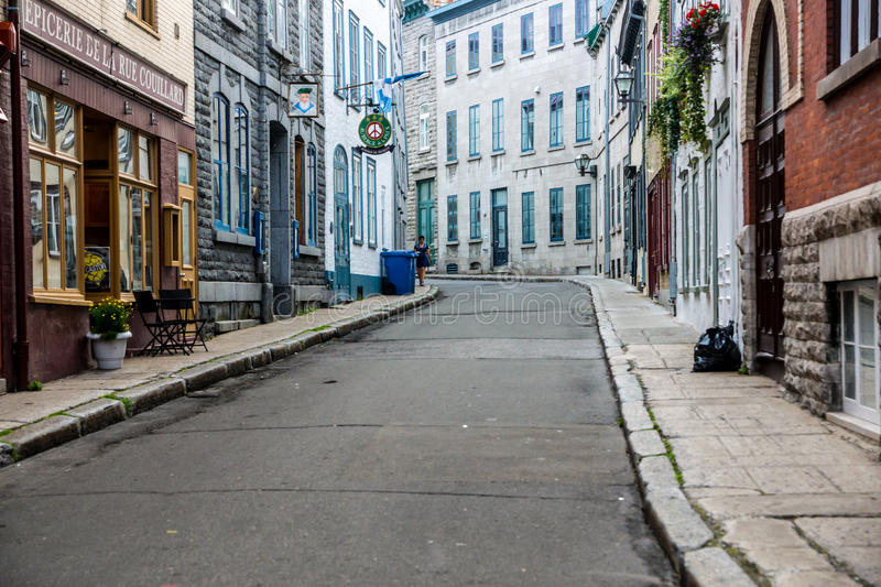 Empty Streets in Old Quebec. Quebec City, Quebec, Canada - Sept. 8, 2015: Empty streets in early morning await the rush of spectators expected for Quebec's stock photo