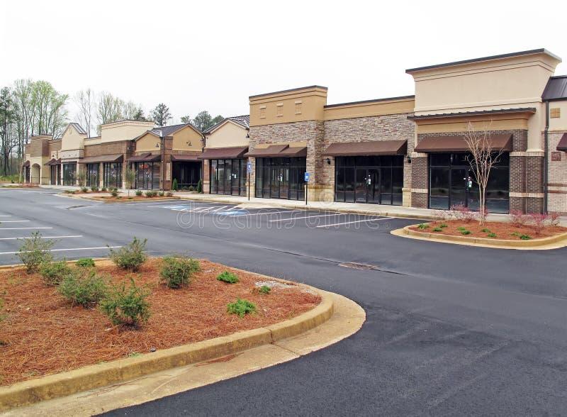 Empty strip mall stock photo