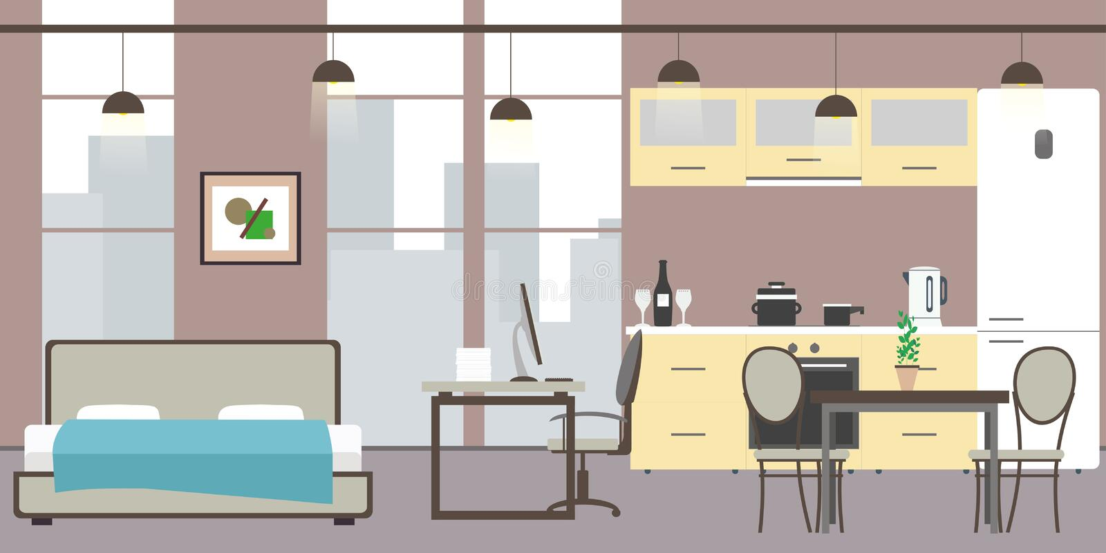 Empty Studio apartment with big windows. Bed, workspace and kitchen with utensils, flat vector illustration vector illustration