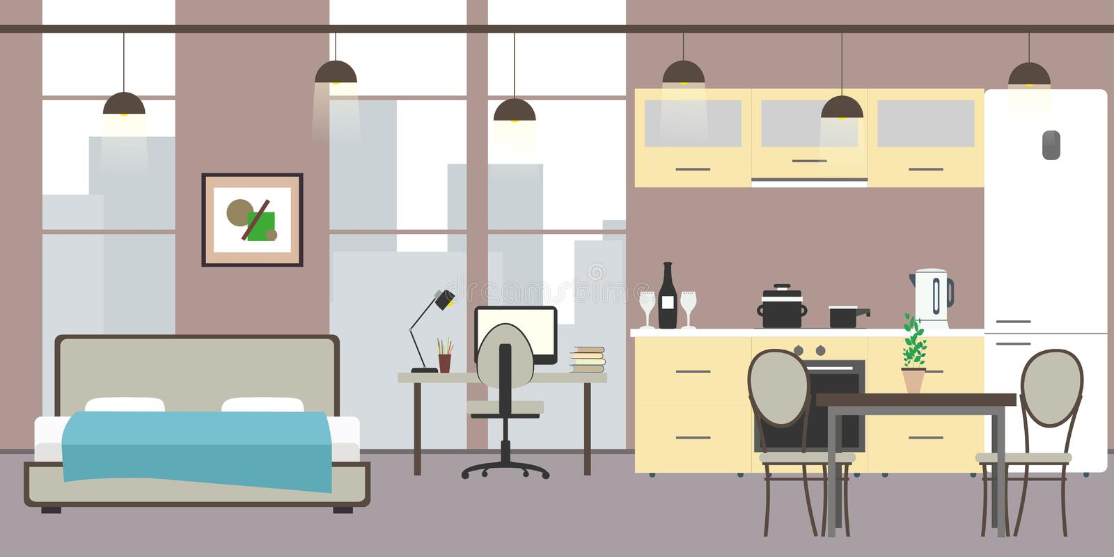Empty Studio apartment with big windows. Bed, workspace and kitchen with utensils, flat vector illustration royalty free illustration