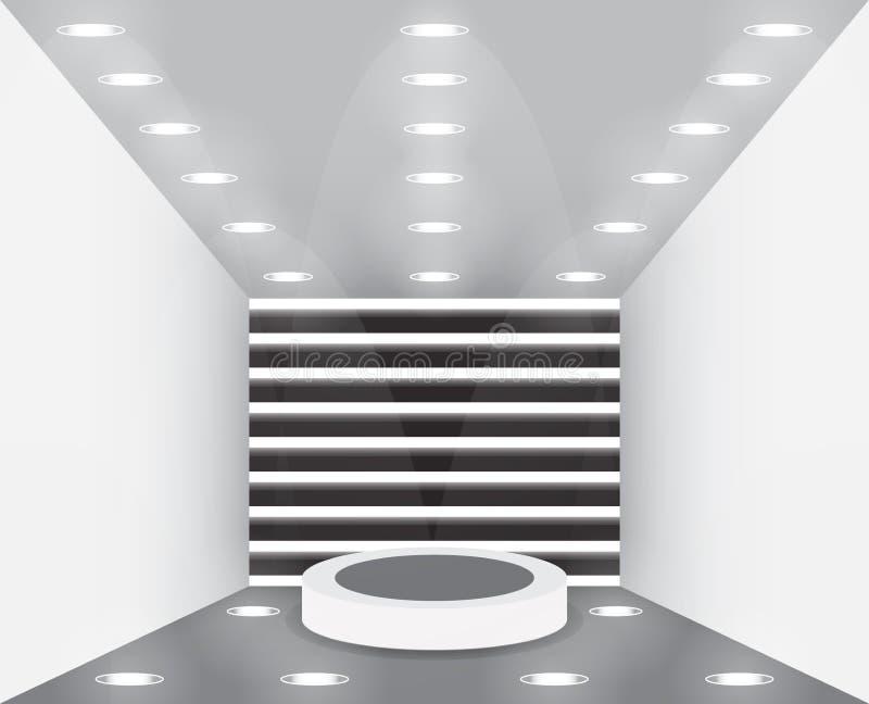 Empty studio room. Exhibition presentation room with podium. Empty pedestal for award ceremony. Scene illumination vector illustration