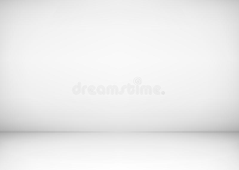 Empty studio room interior. White wall and floor background. Clean workshop for photography or presentation. Vector illustration stock illustration