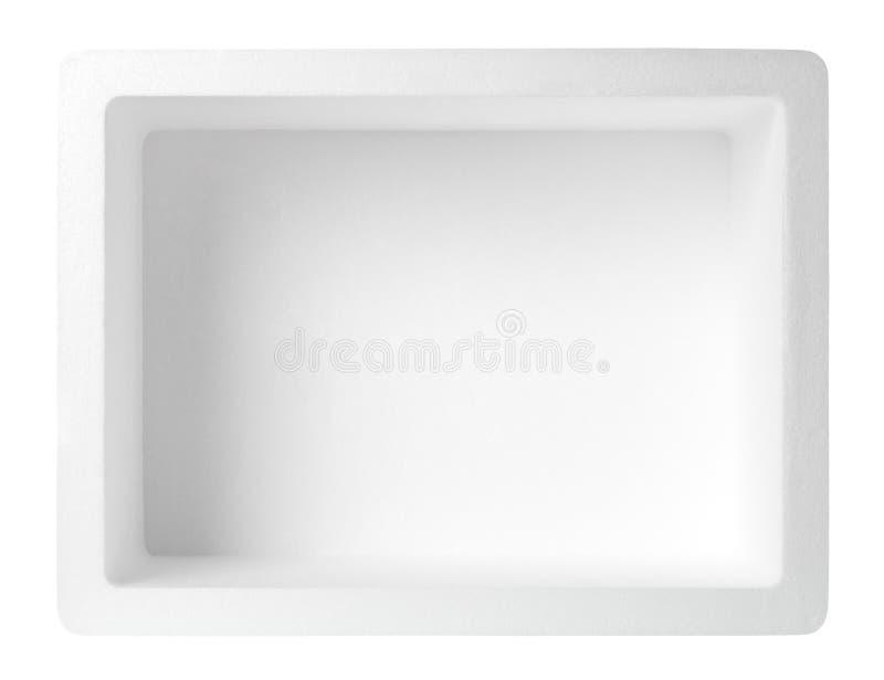 Empty styrofoam box. Isolated on white background, Top view royalty free stock photo
