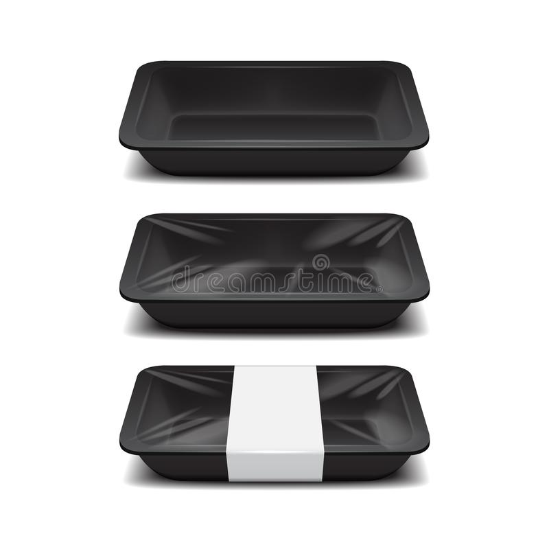 Empty styrofoam food storage. Black food plastic tray, set of foam meal containers with white label. For your design vector illustration