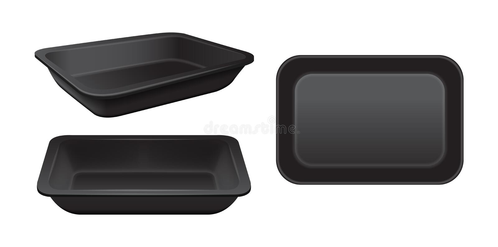 Empty styrofoam food storage. Black food plastic tray, set of foam meal containers vector illustration