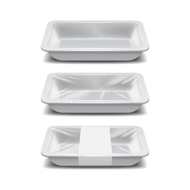 Empty styrofoam food storage. White food plastic tray, set of foam meal containers with white label. For your design vector illustration
