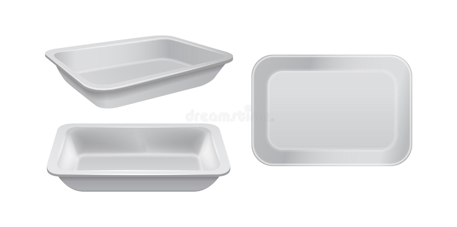 Empty styrofoam food storage. White food plastic tray, set of foam meal containers. For your design vector illustration