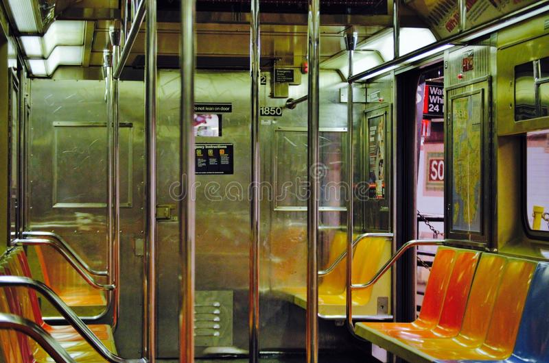 Empty subway. NYC mta public transit transportation geometric lines stairs stairway empty solitary hard concrete steel b train d train uptown Bronx queens stock photo