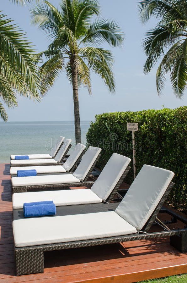 Download Empty Sunbed With Wrapped Towels Stock Photo - Image: 31886616