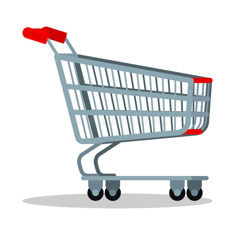 Empty supermarket chrome metal trolley cart with wheels for goods isolated on white background, Vector cartoon flat style royalty free illustration