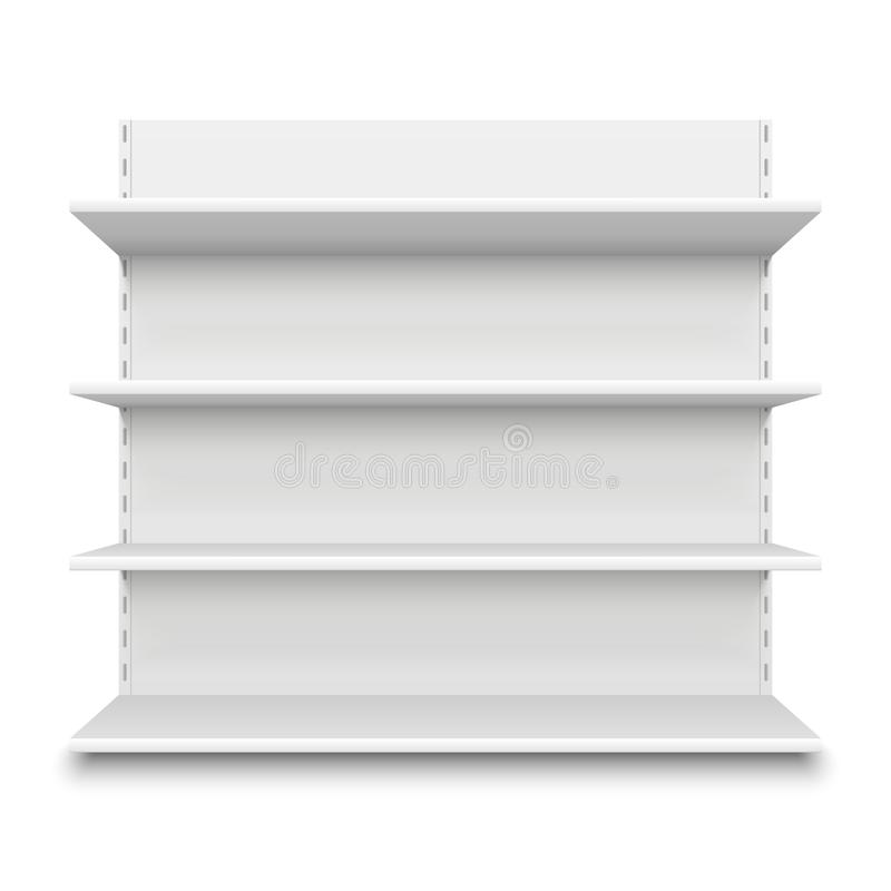Empty supermarket shelf. Retail store white blank shelves for merchandise. Isolated shelving stand vector illustration royalty free illustration