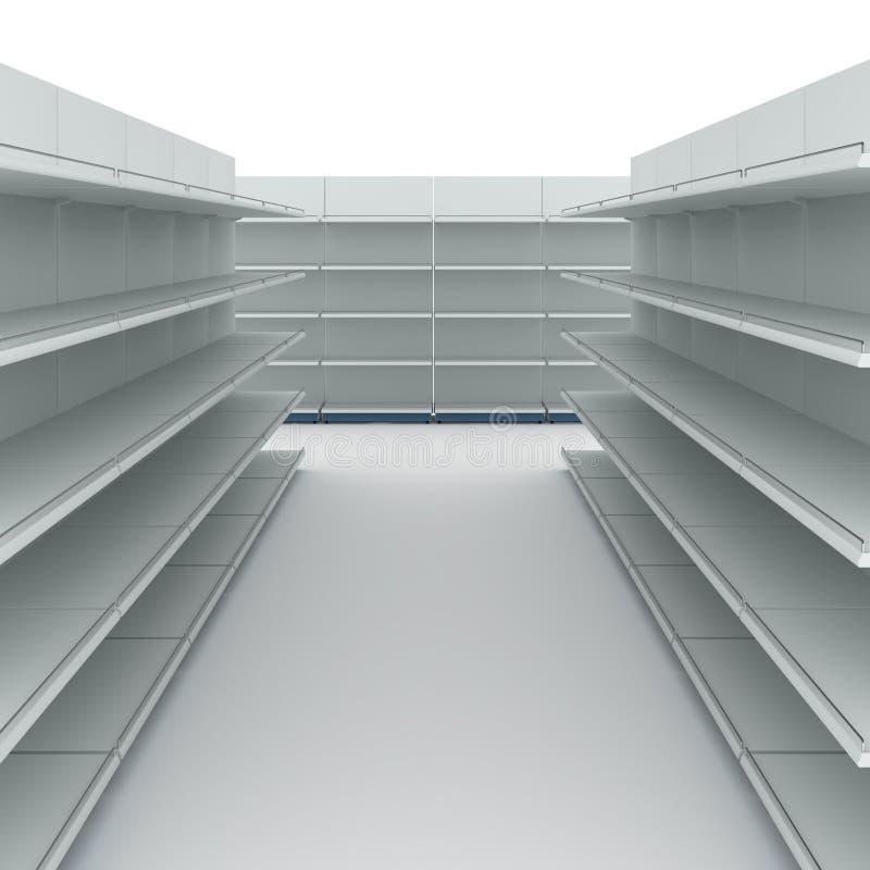 Empty supermarket shelves stock photo