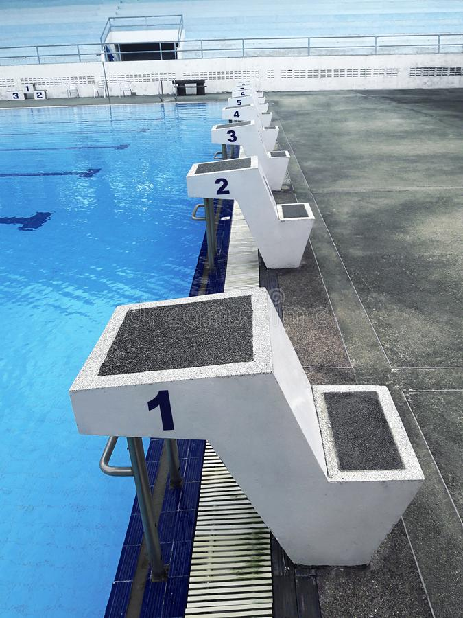 Empty swimming open air swimming pool - starting places stock photo