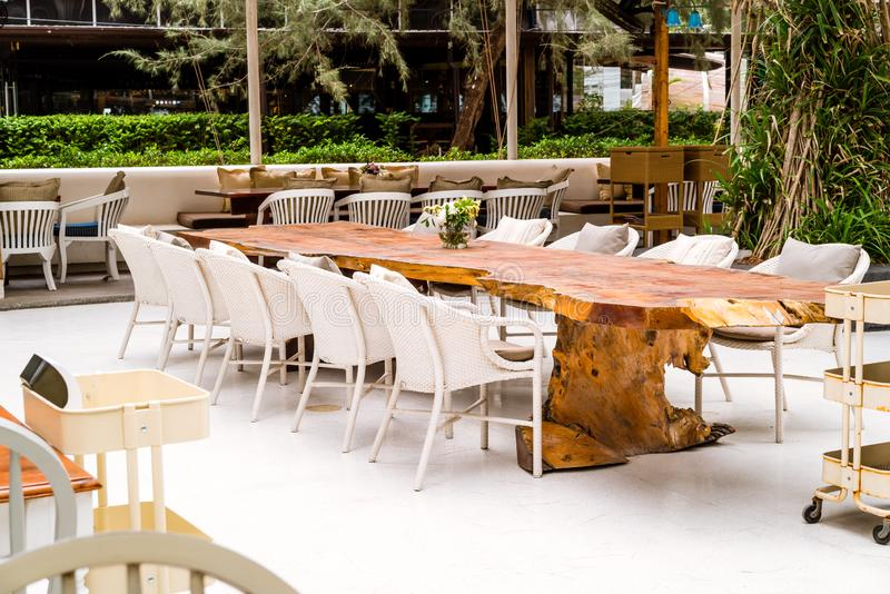 Empty table and chair. In restaurant royalty free stock photography