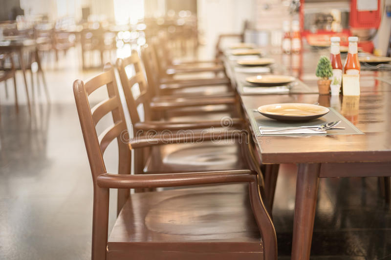 Empty table and chair in restaurant royalty free stock images