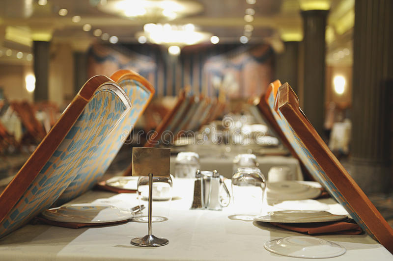 Empty table in restaurant. Witn number of table stock photography