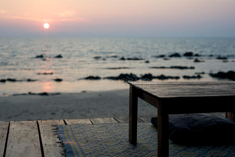 Download Empty Table - Rustic Beach Bar At Sunset Stock Image - Image of cushion, sunset: 13250391