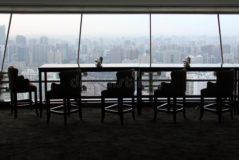 Empty table in skyscraper royalty free stock photos