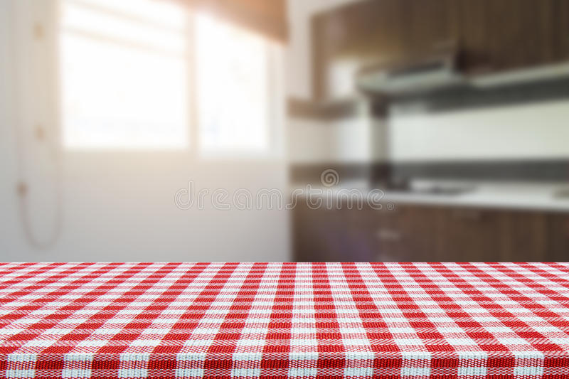 empty table with tablecloth and blurred kitchen background product rh dreamstime com kitchen tablecloths rectangular kitchen tablecloths rectangular
