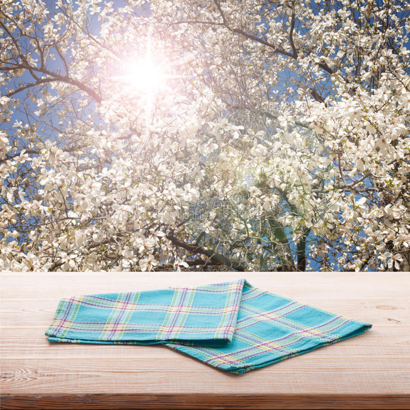 Empty table and tablecloth. Nature background outdoors. royalty free stock photo
