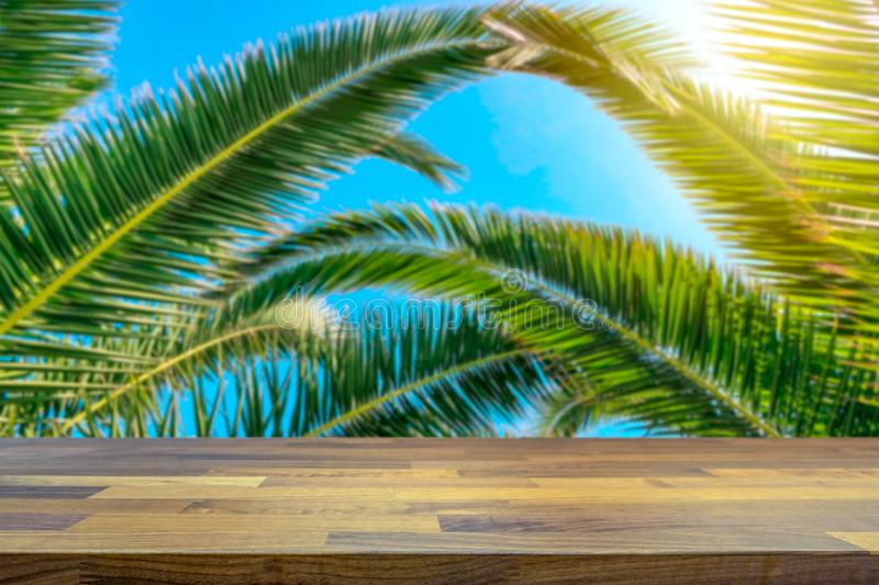 Tropical holiday concept. Palm tree and beautiful blue sky blurred in the background. Empty table top for product display montage. Tropical holiday concept. Palm royalty free stock photo